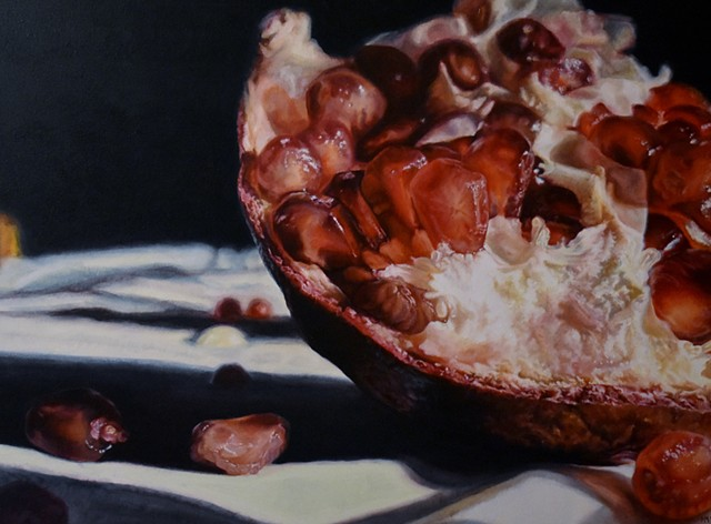 Pomegranate Painting, Photo Realism, Fruit Painting, Still life