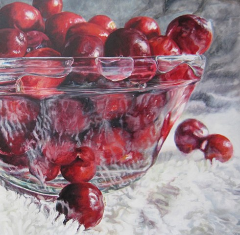 Cranberries, Still-Life Painting, Photo realism, Fruit Painting, Cranberries in Water