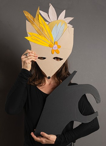 golden feather fox mask with hand shadow with Avraham Hay