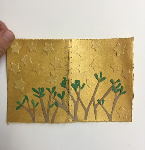 pocket size, foldable early spring tree line with stars