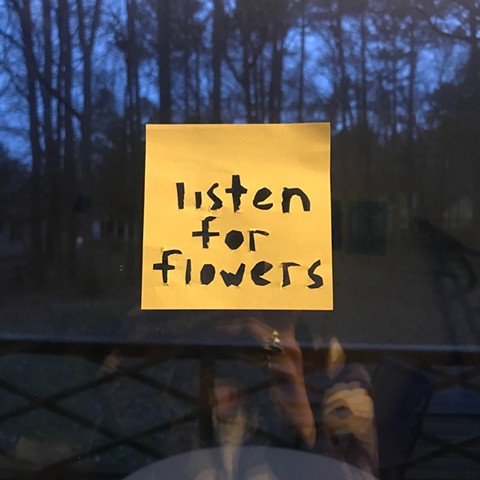 listen for flowers sticky note