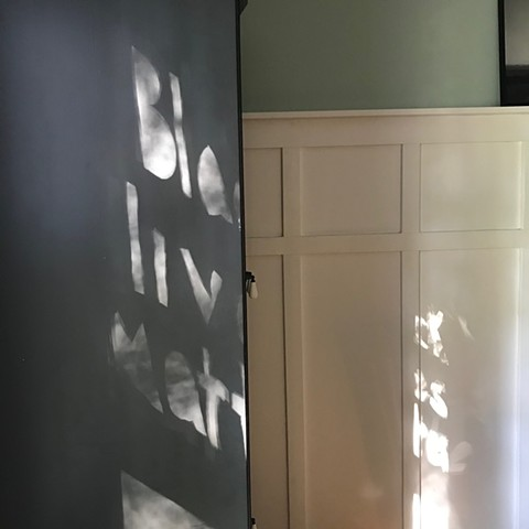 looking in, looking out, June 2020, interior, China Cabinet, shadow and sunlight