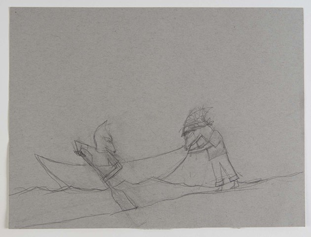 Penelope pushing Amos into the lake sketch
