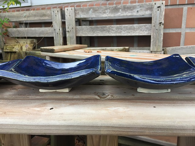 Curved Blue Glazed Plates (View 2)