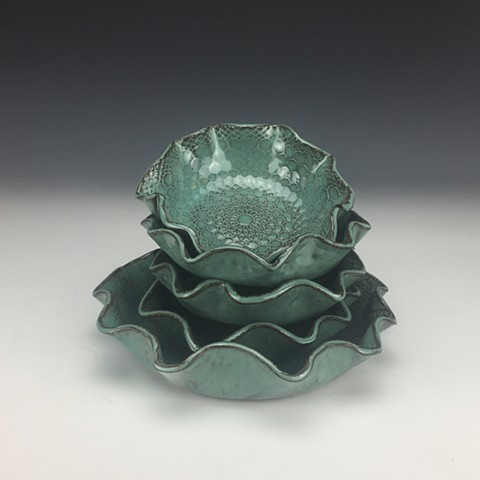 Turquoise Textured Bowl Set