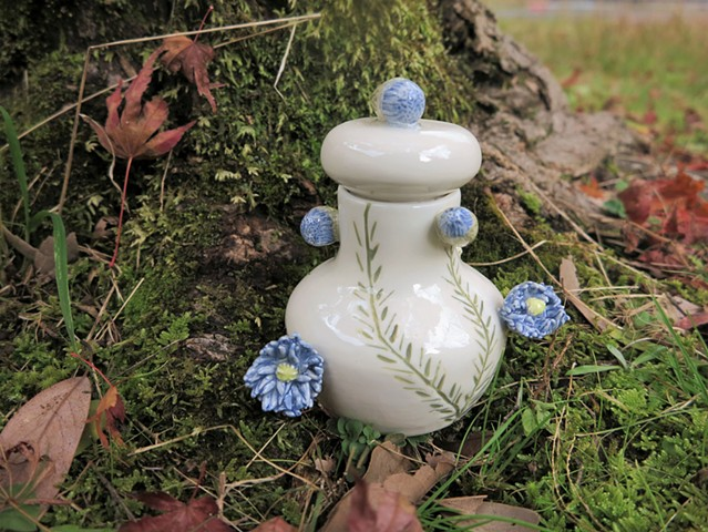 Blue Floral Jar (View 3)