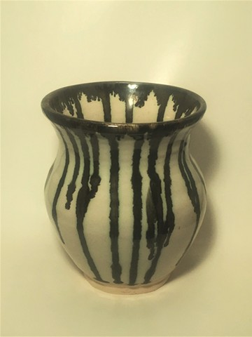 Bronze and White Striped Vase