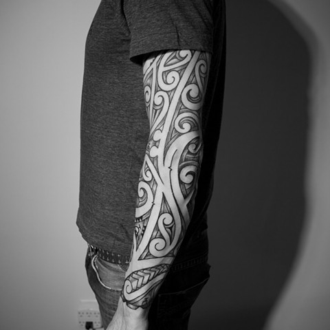 Tattoo by Mikel - Kelowna B.C. Canada. Maori inspired sleeve.