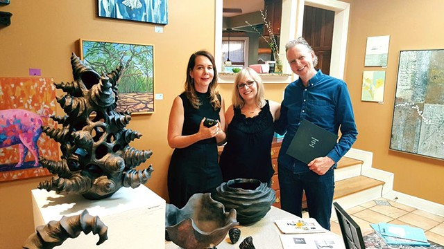 "Wildflower Organic owners, Cori and Gunnar Hedman. Photo taken after they purchased ""Revolution"" at the West Austin Studio Tour 2017 at Deborah Main Designs."