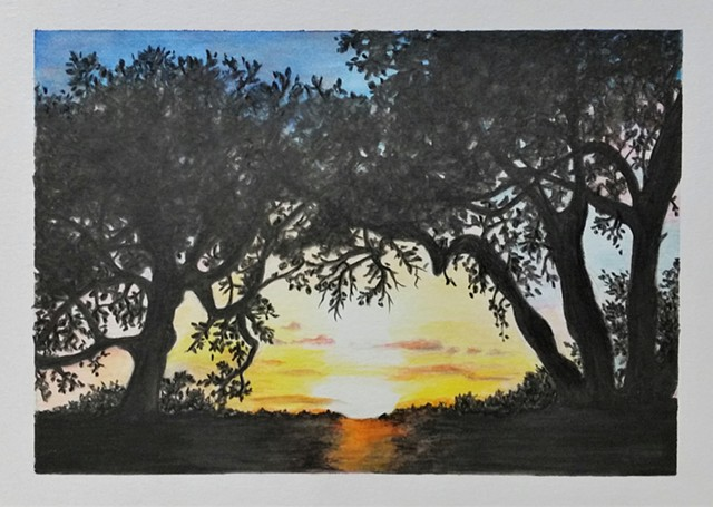 """Hill Country Sunset"" White matt with black frame"