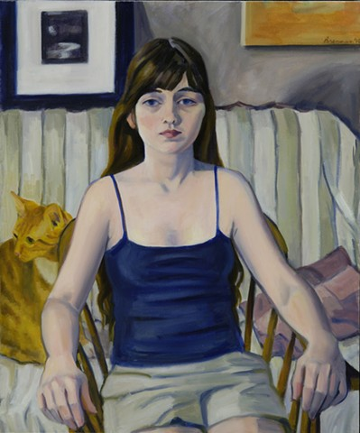 Girl with Yellow Cat