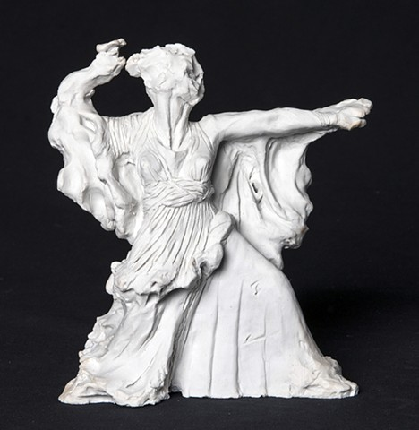 "9"" tall figurine in porcelain, inspired by the violence of the goddess in The Iliad, as well as on the Temple at Pergamon."