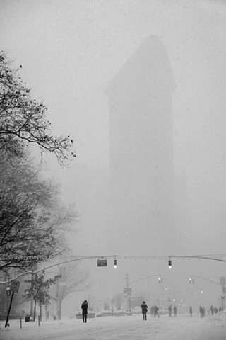 Flatiron Building during blizzard