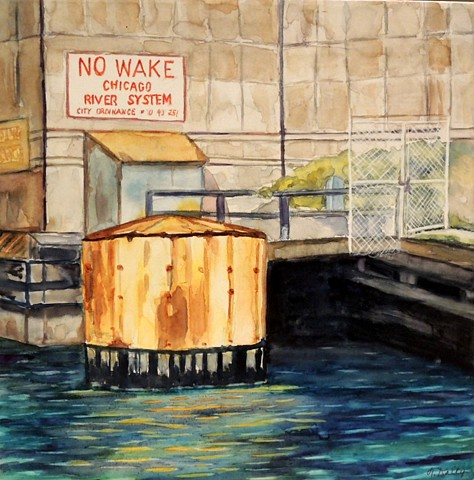 No Wake sign on Chicago River