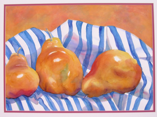 golden pears on blue & white striped cloth