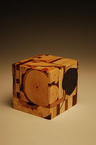Laminated wood cube