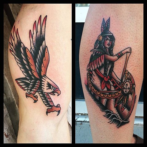Traditional Eagle And Woman In Canoe Tattoo By Spencer Evans Color Black Gold Tattoo Co