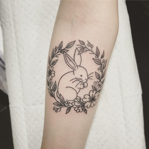Floral Bunny Tattoo By Jess Alther Black And Grey Black Gold Tattoo Co