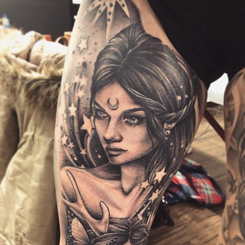 Moon Goddess Tattoo By Sarah Michelle Black And Grey Black Gold Tattoo Co