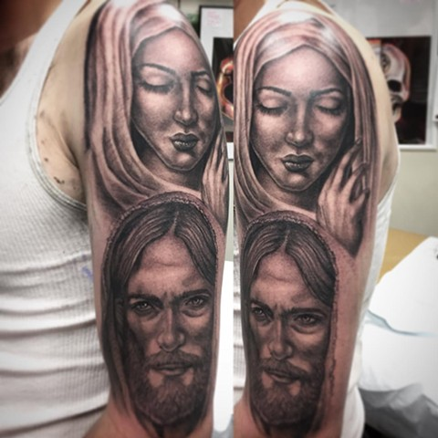 Mary And Jesus Tattoo By Steve Hayes Black And Grey Black Gold Tattoo Co