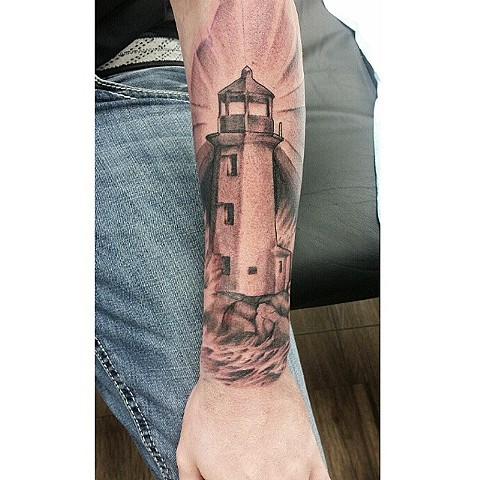 Light House Tattoo By Ashley Hoff Black And Grey Black Gold Tattoo Co