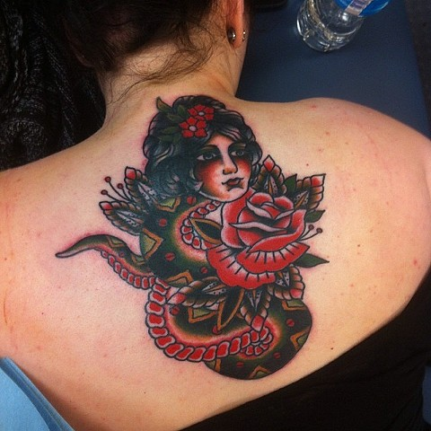 Traditional Snake Woman And Rose Tattoo By Spencer Evans Color Black Gold Tattoo Co