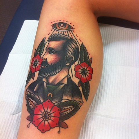 Traditional Man With Flowers Tattoo By Spencer Evans Color Black Gold Tattoo Co