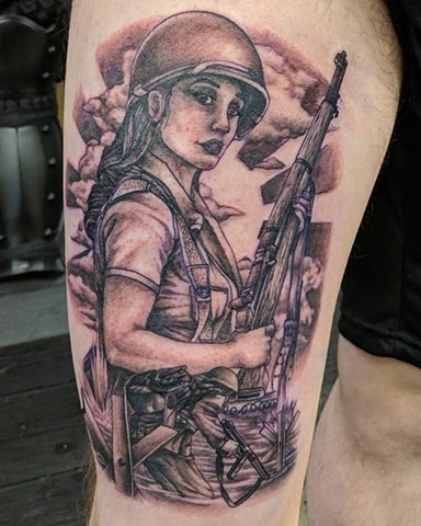 Soldier Thigh Tattoo by Kevin Sherritt Black and Grey Black Gold Tattoo Co.