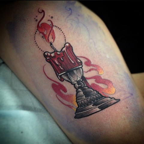 Candle Tattoo By Chad Clothier Color Black Gold Tattoo Co