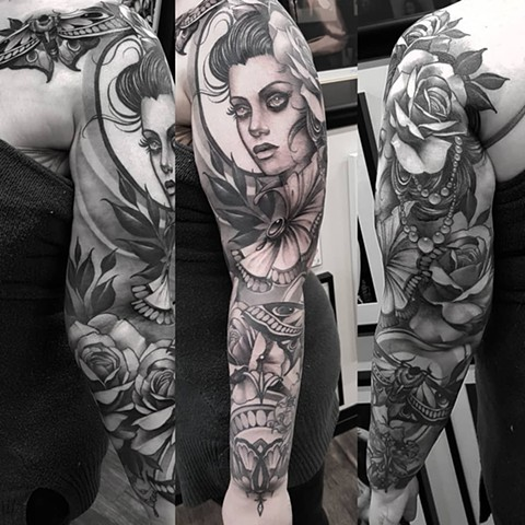 Woman With Moth And Flowers Tattoo By Sasha Roussel Black And Grey Black Gold Tattoo Co