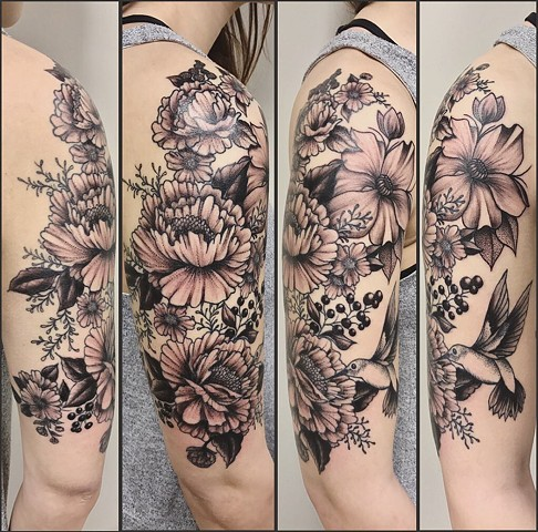 Floral Tattoo By Jess Alther Pointillism Black Gold Tattoo Co