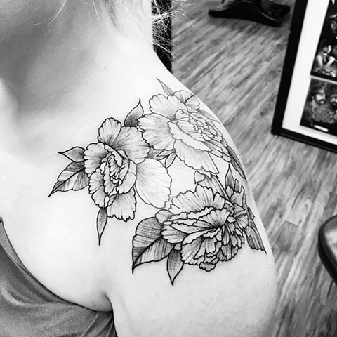 Carnations Tattoo By Jess Alther Black and Grey Black Gold Tattoo Co