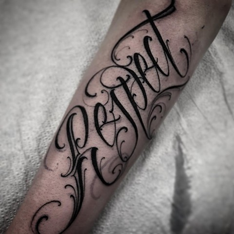 Custom Script Tattoo By Romeo Ostiguy Black And Grey Black Gold Tattoo Co 2019