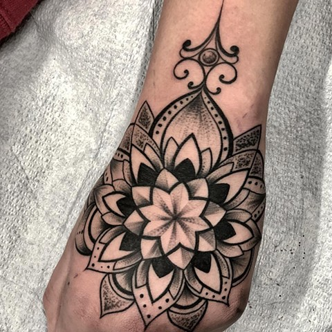 Mandala Tattoo By Romeo Ostiguy Black And Grey Black Gold Tattoo Co