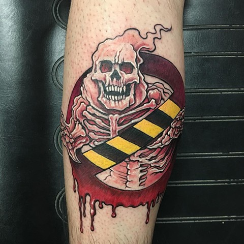 Concept Ghost Buster's Logo Tattoo By Chris Labrenz Color Black Gold Tattoo Co