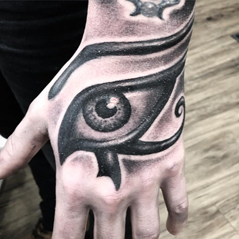 Eye of Horus Tattoo By Steve Hayes Black And Grey Black Gold Tattoo Co