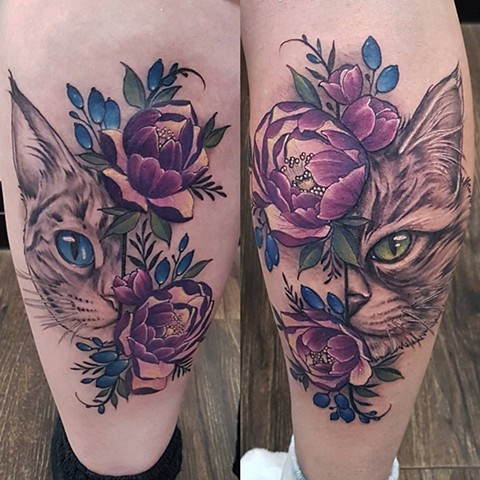 Cats And Flowers Tattoo By Sasha Roussel Color Black Gold Tattoo Co