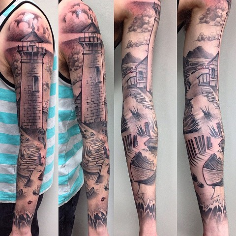 Lighthouse Tattoo By Chad Clothier Black And Grey Black Gold Tattoo Co