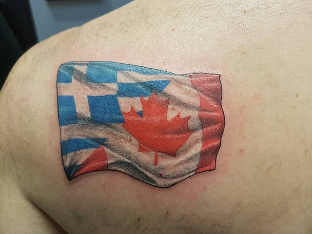 Greek And Canadian Flag Fusion Tattoo By Kevin Sherritt Color Black Gold Tattoo Co.