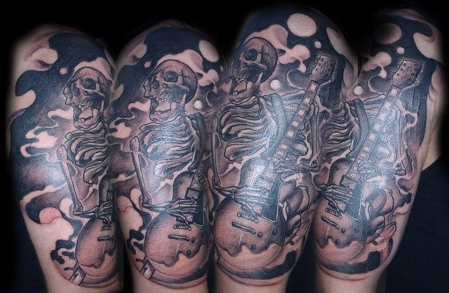 Skeleton Guitarist Tattoo By Josh Lamoureux Black And Grey Black Gold Tattoo Co
