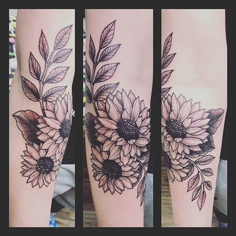 Sunflowers Tattoo By Jess Alther Black and Grey Black Gold Tattoo Co