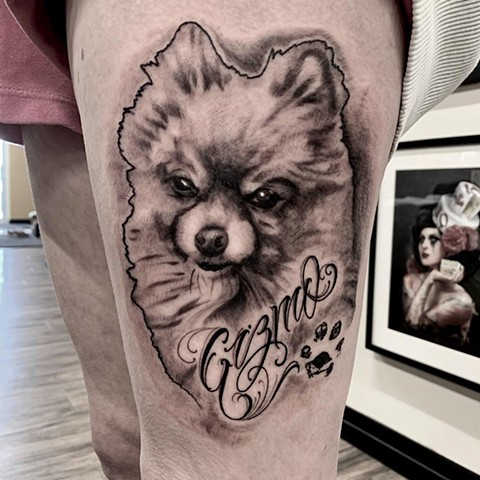 Dog Portrait and Paw Print Tattoo By Romeo Ostiguy Black And Grey Black Gold Tattoo Co 2019