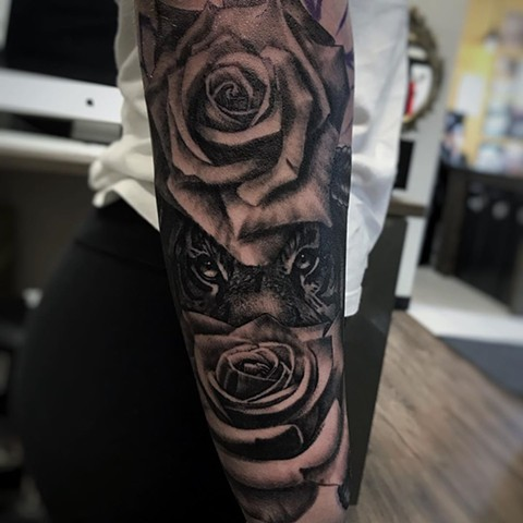 Tiger and Roses Tattoo By Alan Coates Black And Grey Black Gold Tattoo Co. 2019