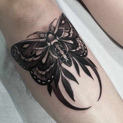 Moth Tattoo By Sasha Roussel Black And Grey Black Gold Tattoo Co