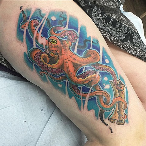 Octopus Tattoo By Chris Benson Color Black Gold Tattoo Co