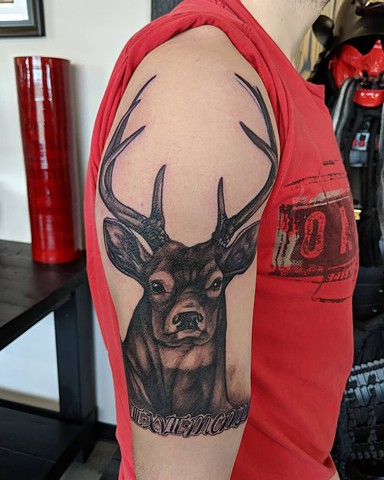Deer Arm Tattoo by Kevin Sherritt Black and Grey Black Gold Tattoo Co.