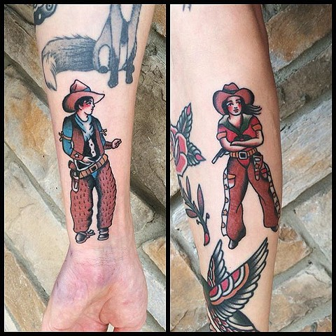 Traditional Cowboy And Cowgirl By Spencer Evans Color Black Gold Tattoo Co