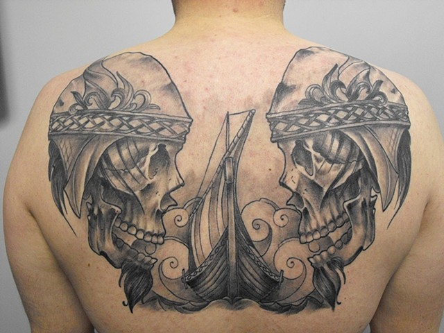 Viking Warrior Skulls With Ship Tattoo By Chad Clothier Black And Grey Black Gold Tattoo Co