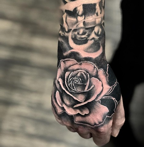 Rose Tattoo By Romeo Ostiguy Black And Grey Black Gold Tattoo Co