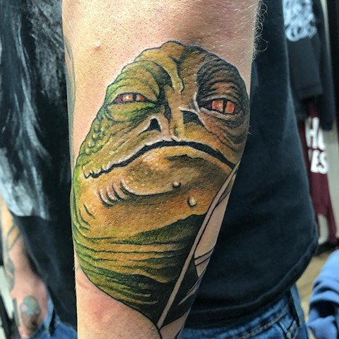 Star Wars Jabba The Hut Tattoo By Chris Labrenz Color Black Gold Tattoo Co.